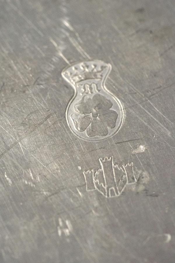 アンティークエタンEtainピューター花リムオーバル深皿31.5×21.5cm gk-541