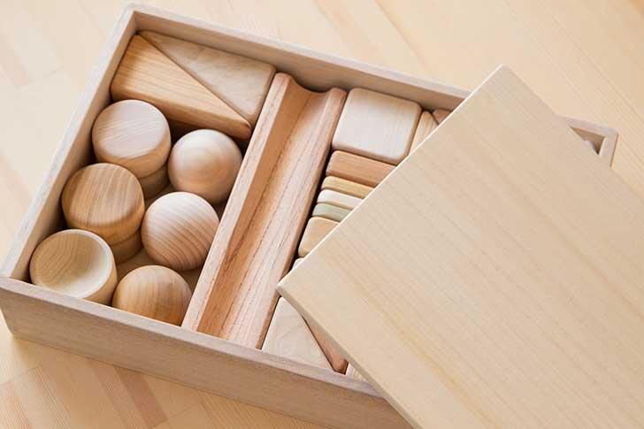 積み木の木箱フタ付き画像