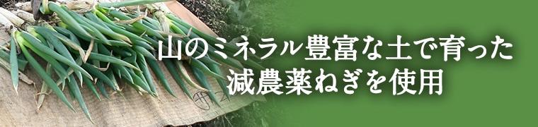 山のミネラル豊富な土で育った減農薬ねぎを使用イメージ