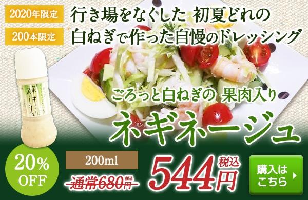 田中農場・2020年初夏どれ白ねぎを使ったフレンチドレッシングネギネージュ200ml