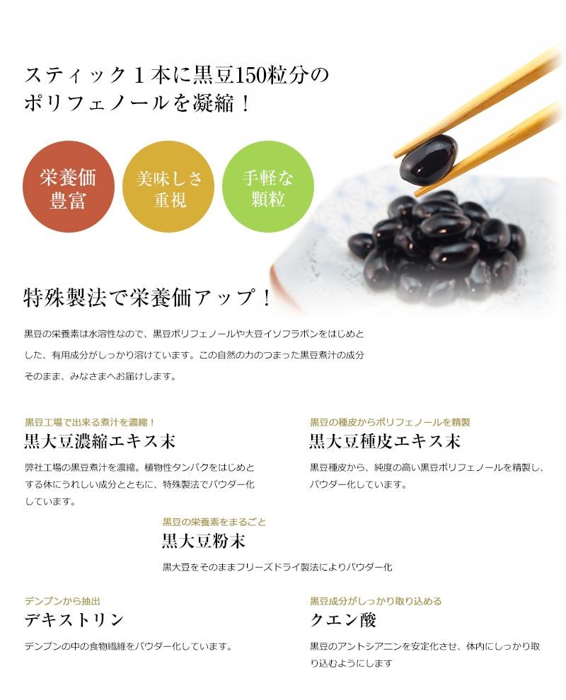 スティック1本に黒豆150粒分の ポリフェノールを凝縮! 特殊製法で栄養価アップ!