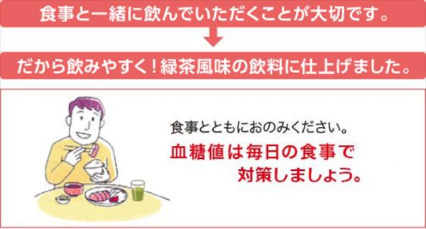 食事とともにおのみください。血糖値は毎日の食事で対策しましょう。