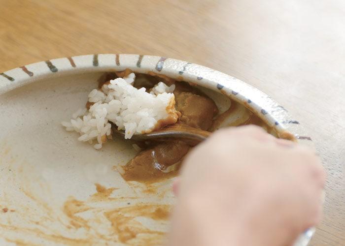 カレー専用皿の特徴を説明している使用イメージ