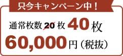 武道家にキャンペーン中! 20枚が40枚 58000円税別
