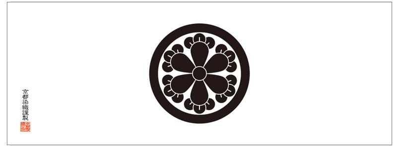 丸に六つ丁字の家紋手ぬぐいは、京都染織