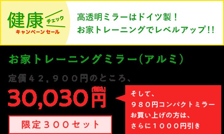 お家トレーニングミラー(アルミ) 定価42,900円のところ、30,030円(税込)