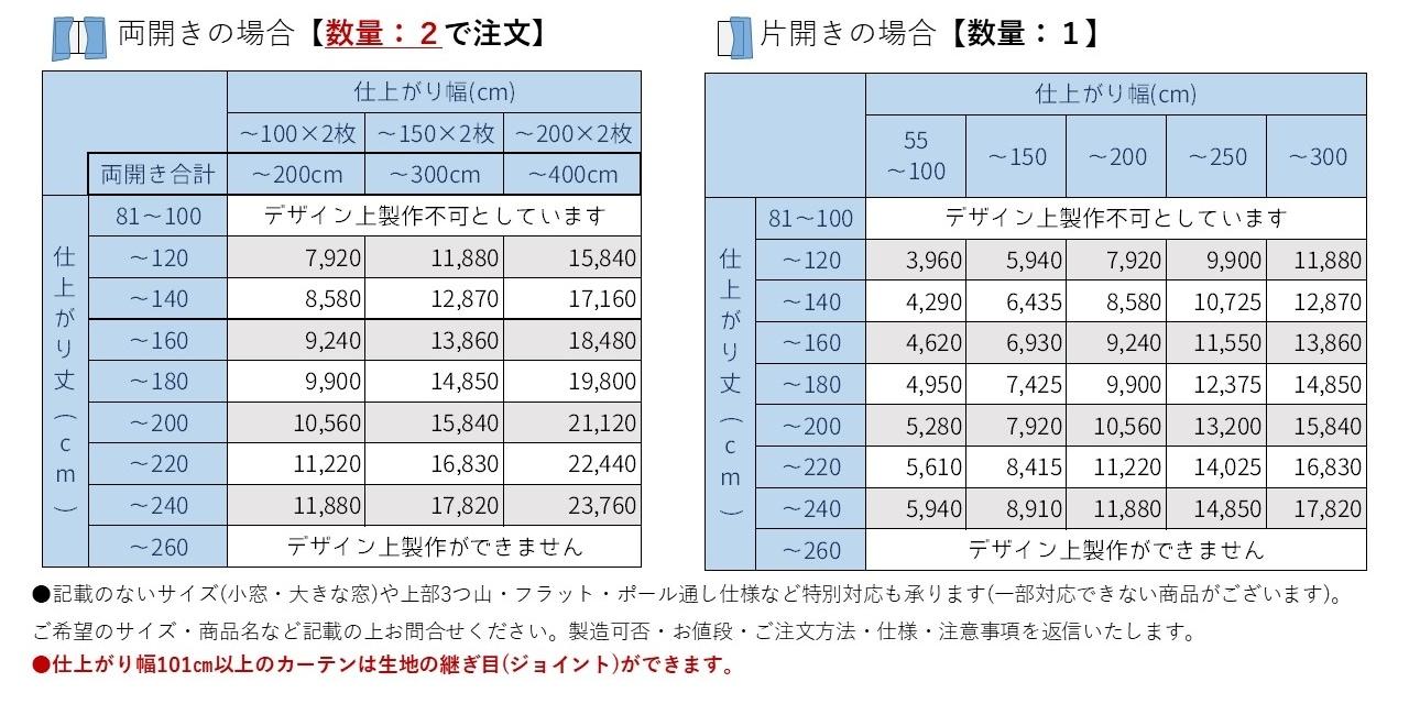 参考価格表
