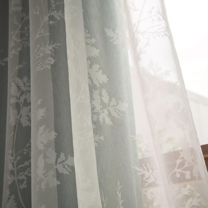 防炎付・柊のオパールプリントシアーカーテン【SIOPボイルヒイラギ WH】ホワイト S7614