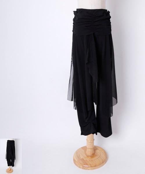 ◇セール10%オフ◇■Mサイズ■メッシュオーバースカート付きパンツ【社交ダンス 衣装 パンツ レッスンウエア】