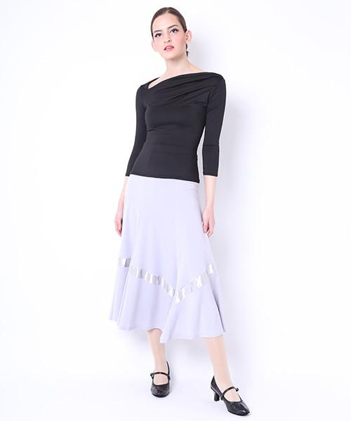 【期間限定20%OFF 12/1 - 12/20】サテンテープ付きロングスカート【社交ダンス 衣装 スカート ロング】
