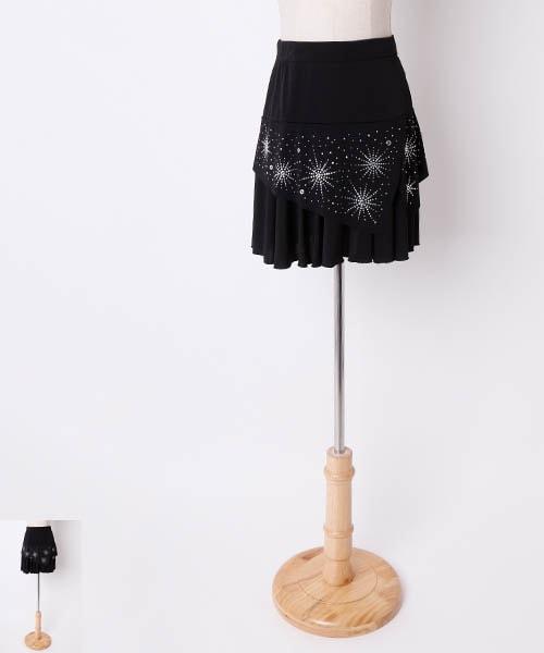 ラインストーンフリルオーバースカート【社交 衣装 オーバースカート】