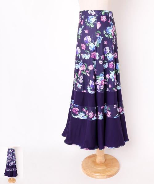 【モデル三浦美和子先生】フラワーパネルデザイン ロングスカート【社交 衣装 スカート】