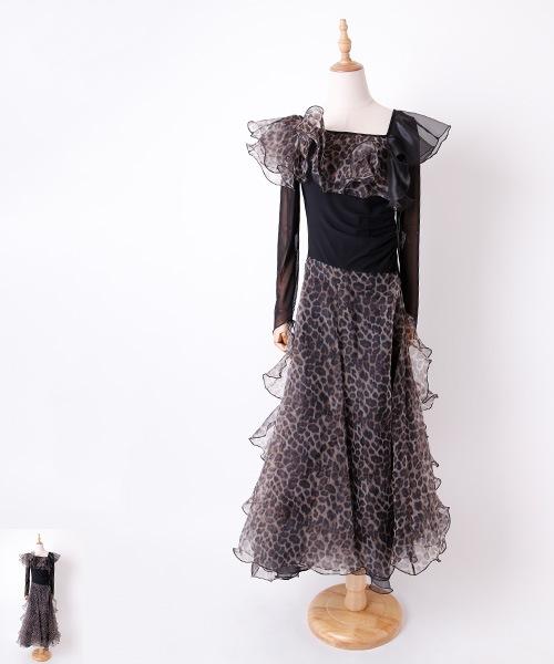 ◆セール!!◆ レオパード フリルデザイン ロングワンピース【社交ダンス 衣装 ワンピース】