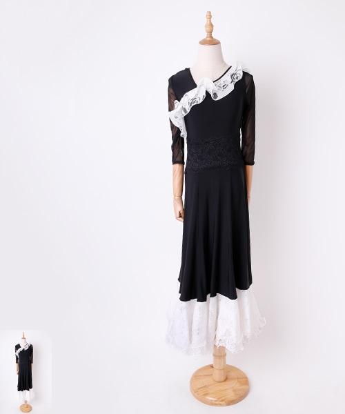 ◆セール!!◆ ローズxフリルデザイン ロングワンピース【社交ダンス 衣装 ワンピース】