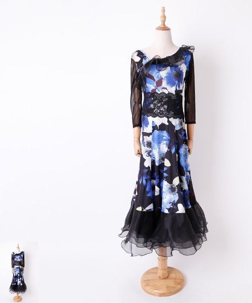 ◆セール!!◆ フラワーxブラックフリルデザイン ロングワンピース【社交ダンス 衣装 ワンピース】