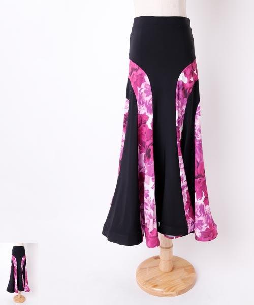 フラワー柄×パネルデザインロングスカート【社交 衣装 スカート】