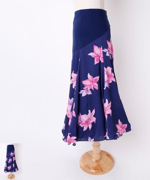フラワー柄×アシメントリー 切り替えデザインロングスカート【社交 衣装 スカート】