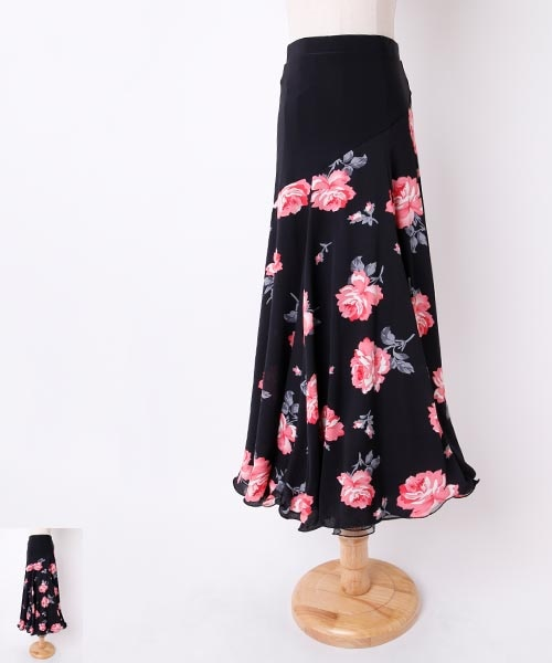 ◆SALE◆ フラワープリント梨地ロングフレアスカート 【社交 衣装 スカート】