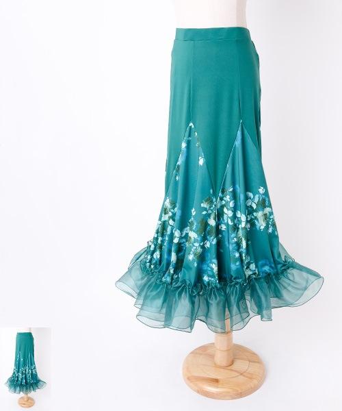 ◆セール!!◆ フラワーオーガンジーフリル ロングスカート【社交 衣装 スカート】