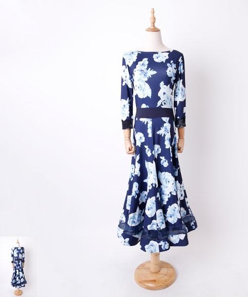 ◆SALE◆ ブルーローズ パネルデザイン ロングワンピース【社交ダンス 衣装 ワンピース】