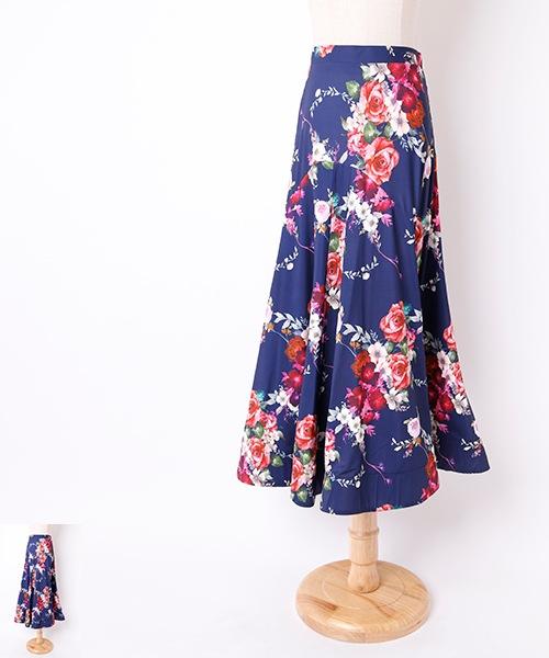 ◆セール!!◆ フラワーガーデン パネルデザイン ロングスカート【社交 衣装 スカート】