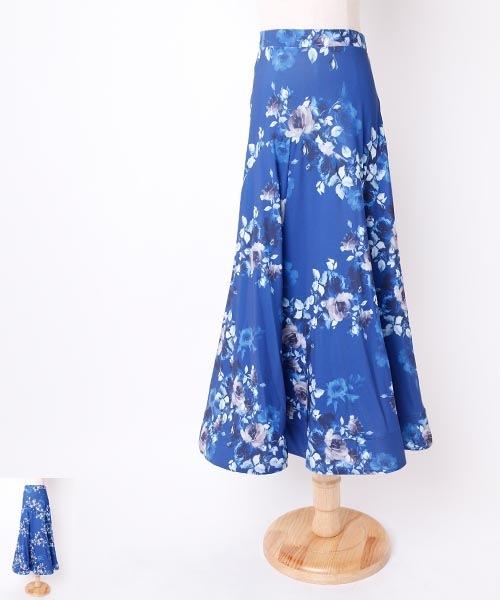 ◆SALE◆ フラワープリント×パネルデザインロングスカート【社交ダンス 衣装 スカート】