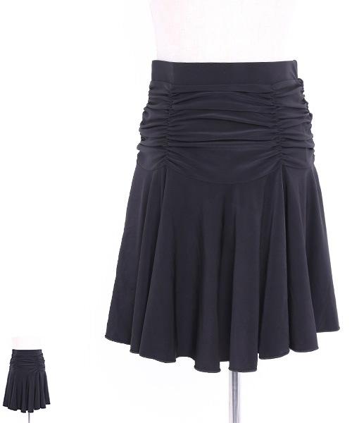 シャーリングデザインスカート【社交ダンス 衣装 スカート ロング】