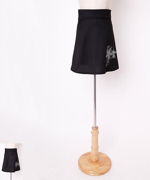 フラワーストーンデザイン オーバースカート【社交ダンス 衣装 スカート ミディアム ショート】