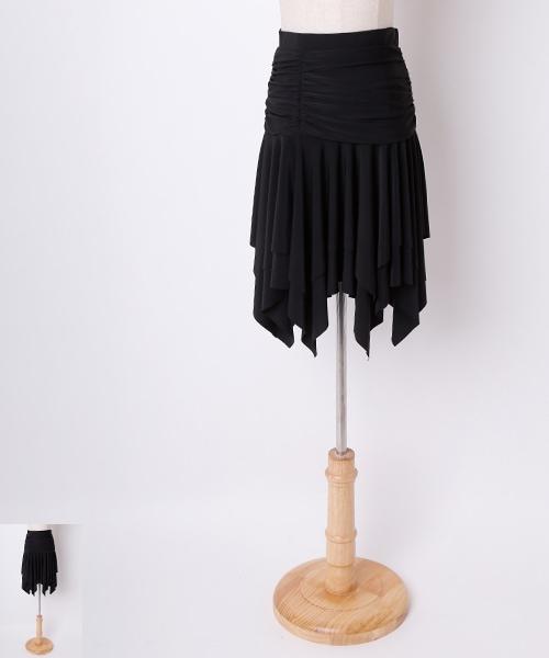 ◆セール30%オフ◆ギャザーアシンメトリーデザイン ミディアムスカート【社交ダンス 衣装 スカート ミディアム ショート】