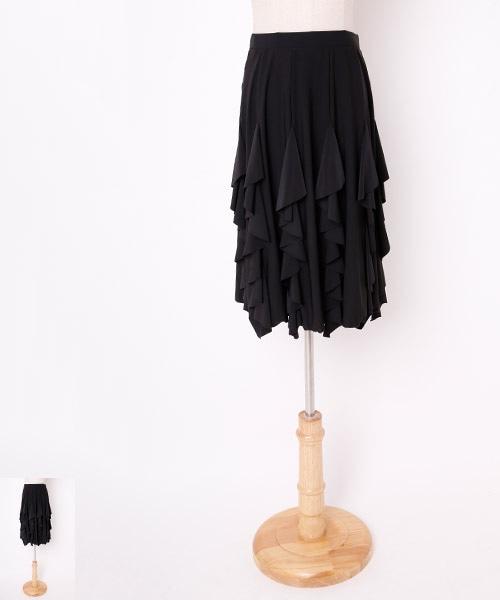 【タイムセール 10/15-10/21】フリル切替デザインミディアムスカート【社交ダンス 衣装 スカート ミディアム ショート】