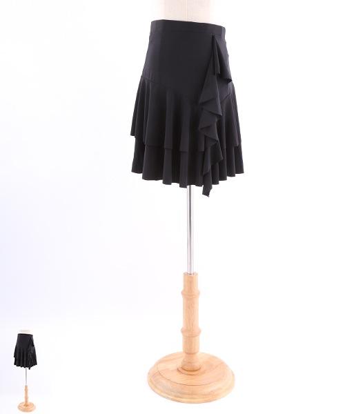 フリルデザインミディアムスカート【社交ダンス 衣装 スカート】