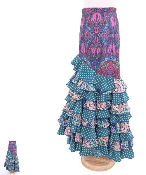 ◇セール10%オフ◇ボヘミアン調デザインファルダ【フラメンコ 衣装 スカート 】