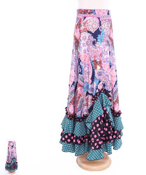 フリル切り替えデザインファルダ【フラメンコ 衣装 スカート 】