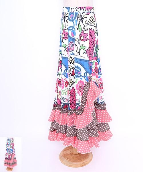◇セール30%オフ◇イラスト風フラワーデザインファルダ【フラメンコ 衣装 スカート】