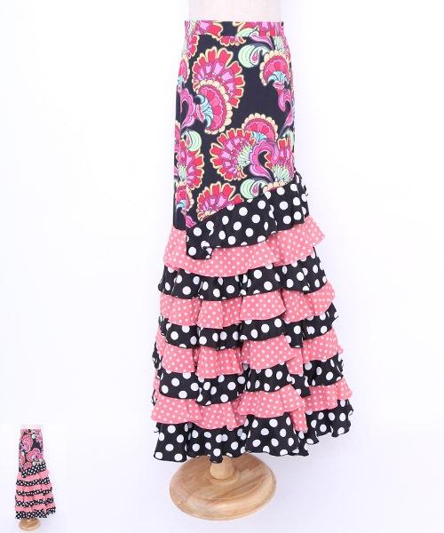 ドットフリルファルダ【フラメンコ 衣装 スカート】