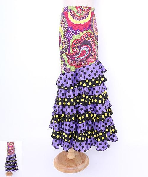 ◇セール15%オフ 2019.4.26 23:59 まで◇ドットフリルデザインファルダ【フラメンコ 衣装 スカート 】