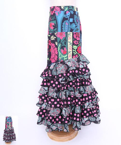 ◆セール40%オフ◆ボヘミアン風デザインファルダ【フラメンコ 衣装 スカート】