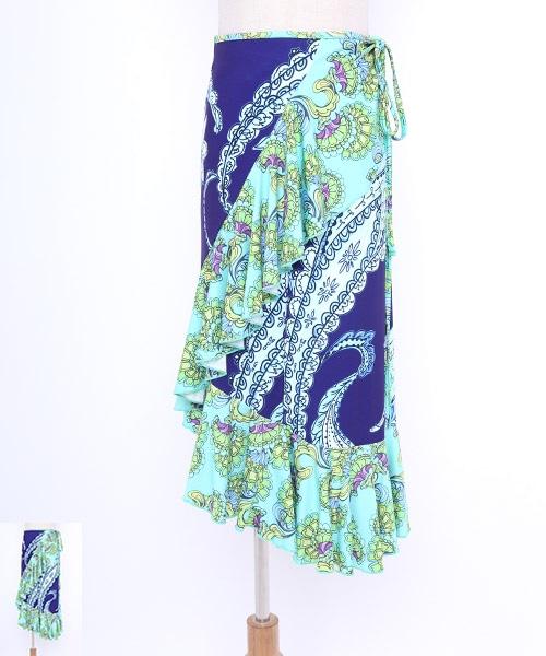 ◇セール10%オフ 5/26 23:59まで◇イラスト調ペイズリー巻きスカート【フラメンコ 衣装 巻きスカート 】