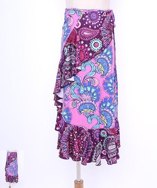ペイズリーフリル巻きスカート【フラメンコ 衣装 巻きスカート 】