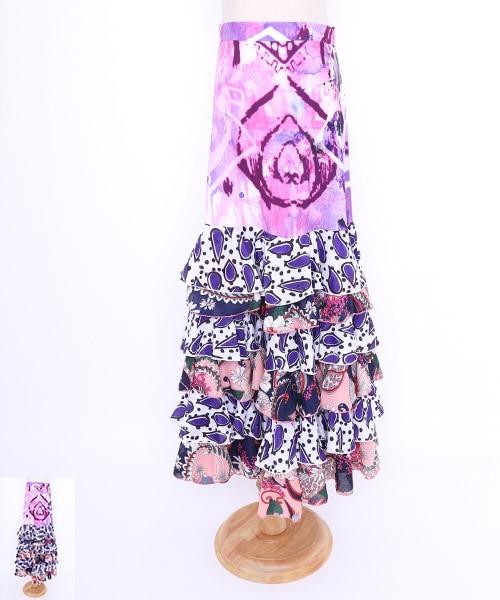 ◆セール40%オフ◆水彩ペイントデザインファルダ【フラメンコ 衣装 スカート 】