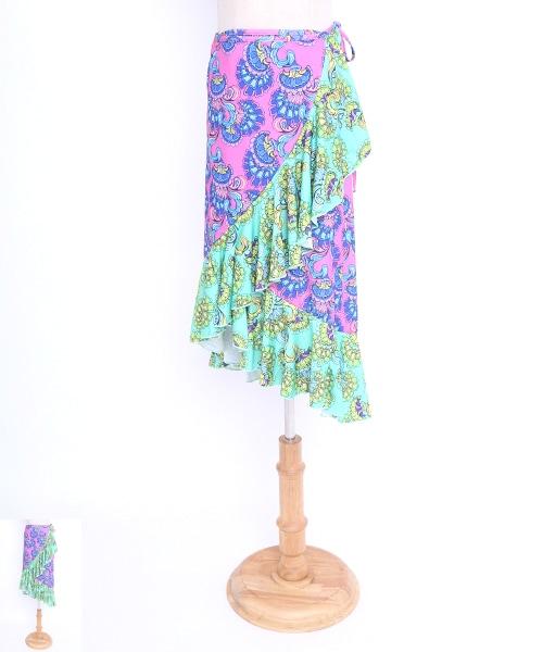 フラワーデザイン巻きスカート【フラメンコ 衣装 スカート 】
