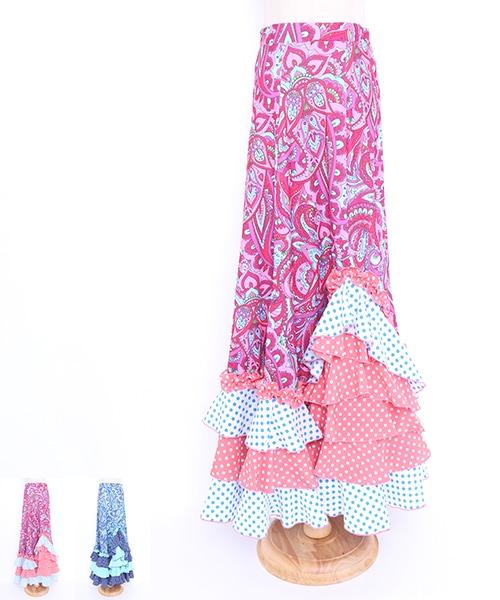 ペイズリーフリルファルダ【フラメンコ 衣装 スカート 】