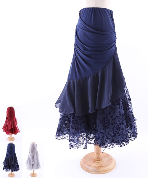 フロッキーフラワープリントロングスカート【社交ダンス 衣装 スカート ロング】