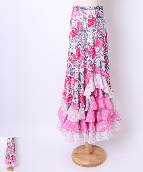 ◆セール10%オフ◆フラワーデザインファルダ【フラメンコ 衣装 スカート】
