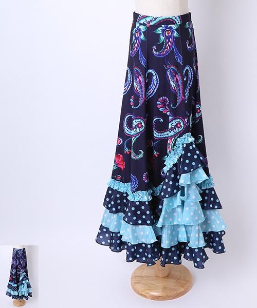 ◇セール10%オフ◇ペイズリープリントファルダ【フラメンコ 衣装 スカート 】