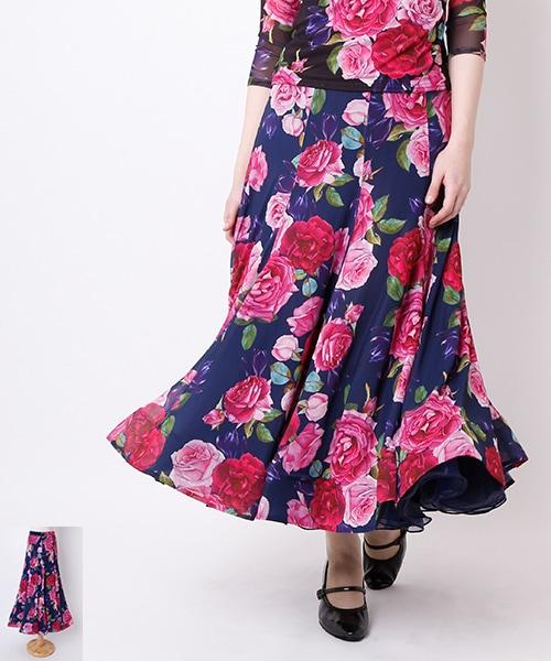 薔薇柄 Aラインデザイン ロングスカート【社交 衣装 スカート】