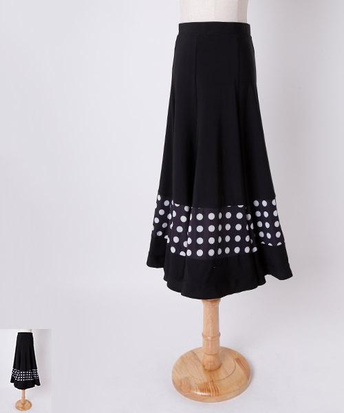 ◇NEW YEAR SALE 15%オフ 1/31 23:59まで◇モノトーンドットAラインミディアムスカート 衣装 スカート】