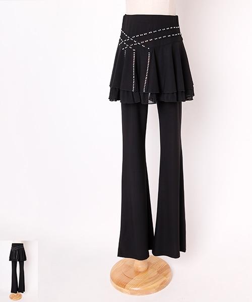 ◆40%OFF◆ラインストーン デザイン スカート付パンツ【社交 衣装 パンツ】