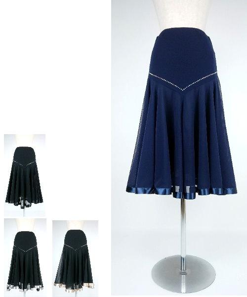 Vラインストーン サテンテープ ミディアムスカート 【社交ダンス スカート フレアスカート】