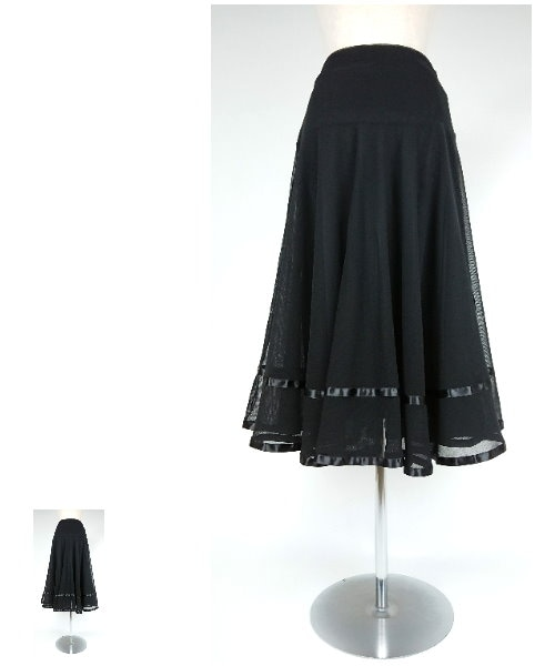 ソフトメッシュ裾サテンテープスカート【社交 衣装 スカート】